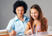 Cheerful Homework. — Stock Photo