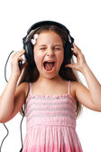 Girl with Headphones Screaming. — Stock Photo