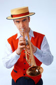 Closeup picture of a man playing on trumpet — Foto Stock