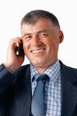Happy Elder Businessman Speaking on the Mobile. — Stock Photo