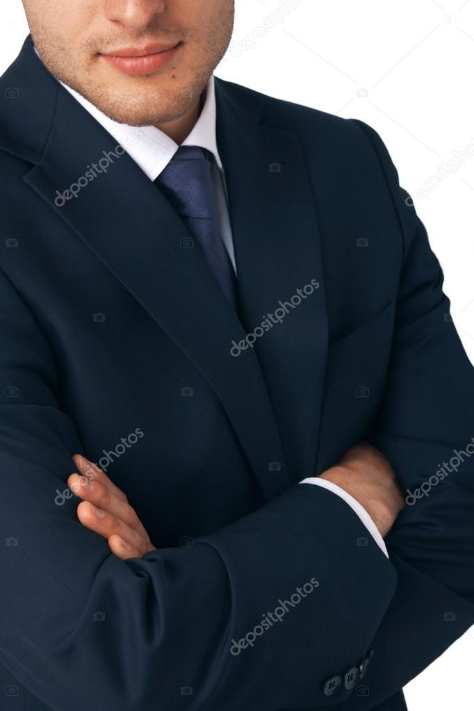 Closeup of a business man's hands folded  Stockfoto #12081900