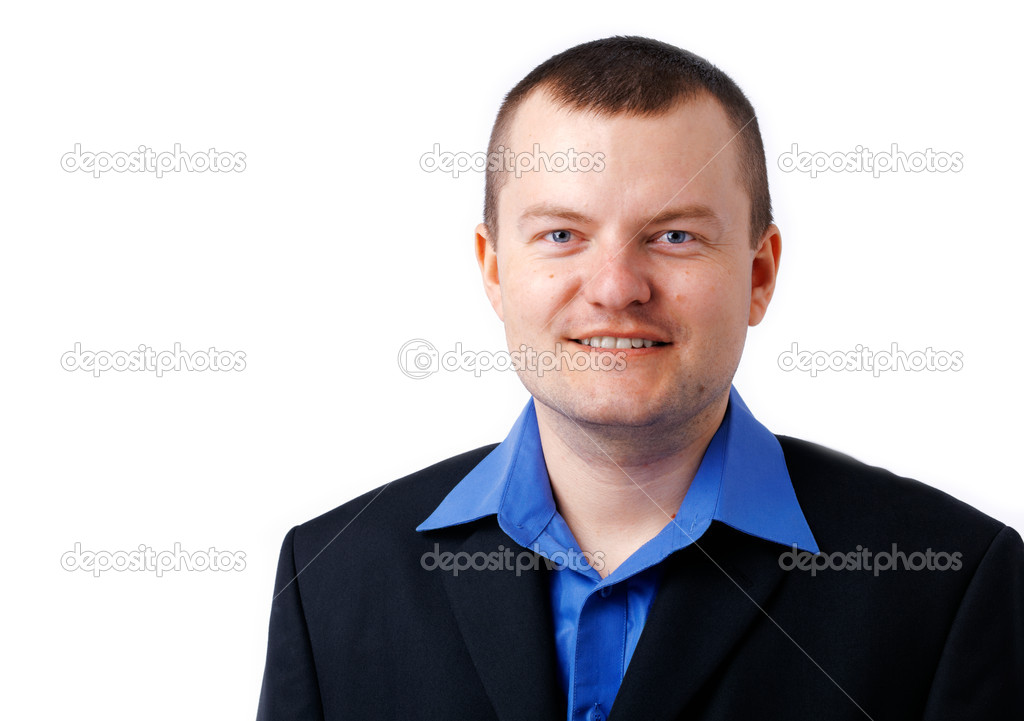 Close up picture of a man in blue shirt and black jacket. — Stock Photo #12082577