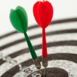 Two darts on a dartboard — Stock Photo