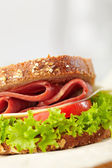 Fresh deli sandwich with tomatoes, swiss chees, lettuce — Stock Photo