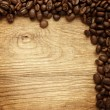 Stock Photo: Fresh coffee beans on wood and linen bag, ready to brew delicious coffee