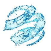 синий закрученного плеск воды, изолированные на белом фоне — Стоковое фото