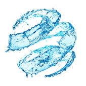 Blue swirling water splash isolated on white background — Stok fotoğraf