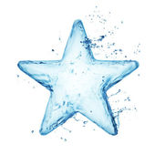 Star from water splash isolated on white — Stock Photo