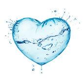 сердце от брызг воды с волной, внутри изолированные на белом — Стоковое фото