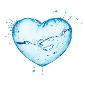 Heart from water splash with wave, inside isolated on white — Zdjęcie stockowe