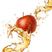 Splash juice with apple isolated on white — Stock Photo