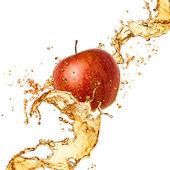 Splash juice with apple isolated on white — Stock Photo