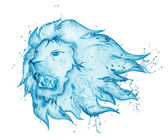 Water splash lion isolated on white background — Stock Photo