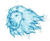 Water splash lion isolated on white background — Stock Photo