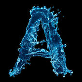 One letter of water alphabet on black background — Stock Photo