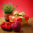 Heart, Valentines Day gift box and flower — Stock Photo #20120885