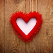 Red heart on wood with copy space — Stock Photo