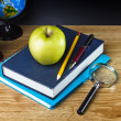 Teacher's desk with a color pencil, notebook and other equipment. — Stock Photo #20121605