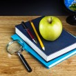 Teacher's desk with a color pencil, notebook and other equipment. — Stock Photo #20121637