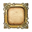 Old antique gold frame with old paper over white background — Stock Photo #22156855