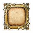 Stock Photo: Old antique gold frame with old paper over white background