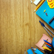 Background of school supplies — Stock Photo