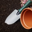 Close-up of the organic soil, spade and flower in pot — Stock Photo