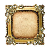 Old antique gold frame with old paper over white background — Stock Photo