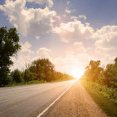 Route au coucher du soleil — Photo