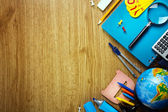 Background of school supplies — Foto Stock