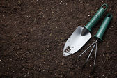 Close-up of the organic soil and spade — Foto Stock