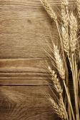 小麦木材的背景上 — 图库照片
