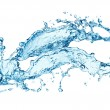 Blue water splash isolated on white background — Stock Photo