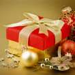 Christmas gift box with christmas balls — Stock Photo #31769805