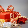 Christmas gift box with christmas balls — Stock Photo #31769807