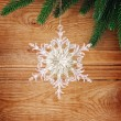 Snowflakes and fir tree — Stock Photo
