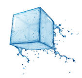 Water splash cube — Stock Photo