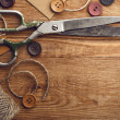 Stock Photo: Old scissors and buttons