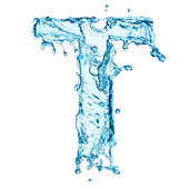 Water splashes letter T — Stock Photo