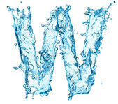 Water splashes letter W — Stock Photo
