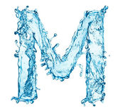 Water splashes letter M — Stock Photo