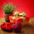 Heart, Valentines Day gift box and flower — Stock Photo #40160195