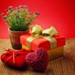 Stock Photo: Heart, Valentines Day gift box and flower