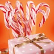 Christmas Decoration with Candy Canes — Stock Photo