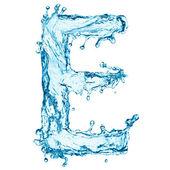 Water splashes letter E — Stock Photo