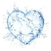 水飞溅的心 — 图库照片