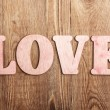 Wooden letters forming words LOVE — Stock Photo