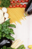 Different vegetables and pasta on the table — Stock Photo