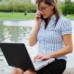 Working businesswoman outdoor — Stock Photo #5452913
