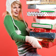 Caucasian girl with gifts on holiday — Stock Photo #5454290